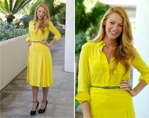 Se o desejo é dinheiro e riqueza, façam como a Diva Blake Lively e apostem no amarelo para 2015!