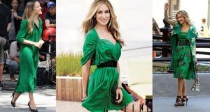 A diva Sarah Jessica Parker nestes looks verdes deslumbrantes está garantindo esperança e equilíbrio. O que acham? Vamos de verde?